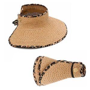 VINCE CAMUTO Tan Adjustable Straw Sun Visor Hat